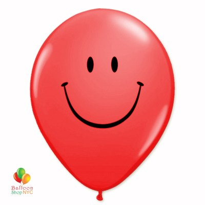 Smile Face Red Latex Party Balloon 12 inch Inflated delivery Balloon Shop NYC