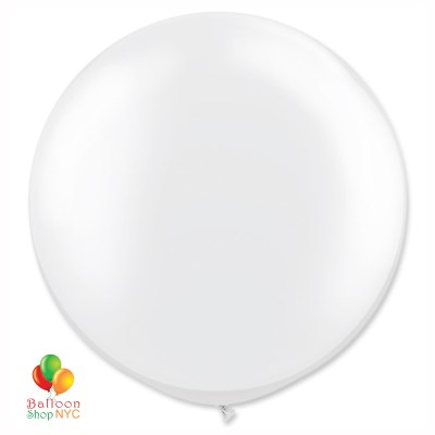 Bright White Latex Party Balloon 24 inch Inflated Round delivery from Balloons Shop NYC