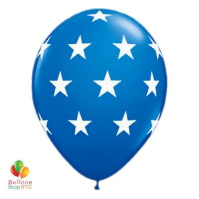 Dark Blue Large White Stars Latex Party Balloon 12 inch Inflated cheap balloons nyc delivery