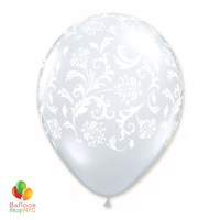 Clear White with White Damask Print Latex Party Balloon 12 inch Inflated delivery Balloon Shop NYC