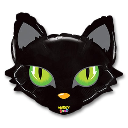 Halloween Jumbo Mighty Cat Head Mylar 28 inch Balloons Inflated from Balloons Shop NYC