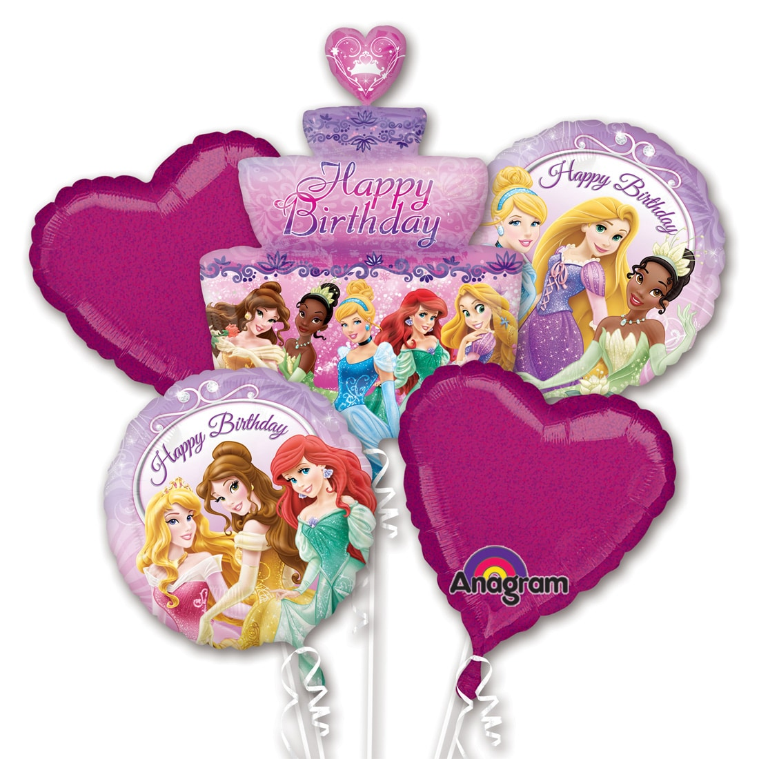 Disney Princess Birthday Cake Balloon Bouquet Inflated