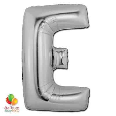 Jumbo-FoiJumbo Foil Silver 40 inch Letter E Balloon