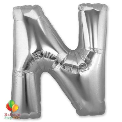 Jumbo-FoiJumbo Foil Silver 40 inch Letter N Balloon
