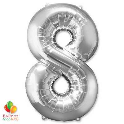 Jumbo Foil Silver 40 inch Number Eight Balloon
