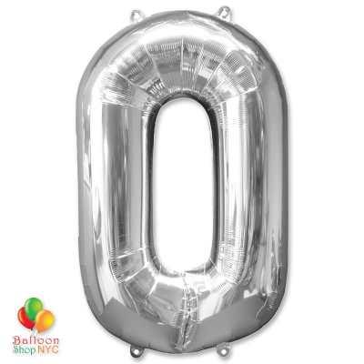Jumbo Foil Silver 40 inch Number Zero Balloon