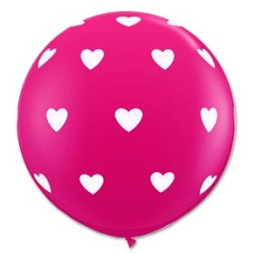 Round Jumbo Pink latex Balloons with Hearts from Balloon Shop NYC