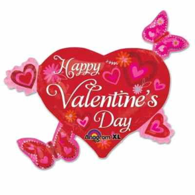 HVD Heart with Butterflies Valentines Day Mylar Balloon from Balloons Shop NYC