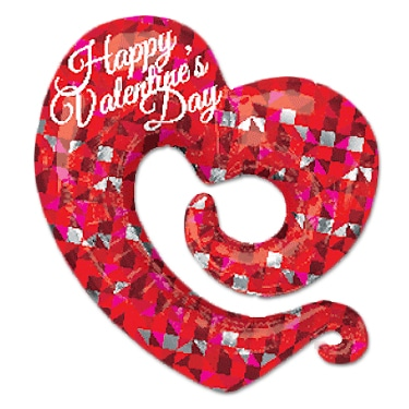 Happy Valentine Swirly Open Heart from Balloon Shop NYC