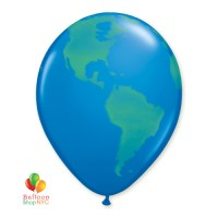 Globe Earth Dark Blue Latex Balloon 12 Inch Inflated. Cheap Balloons NYC delivery Balloon Shop