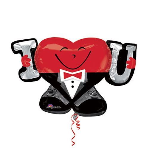 Valentines Day Mylar Balloon I Heart U Guy 33 Inch delivery from Balloon Shop NYC