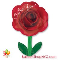 I Love You Rose Valentines Day Balloon 18 Inch Inflated Delivery in New York from Balloon Shop NYC