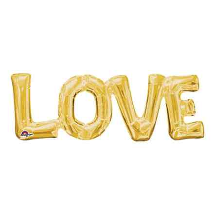 Valentines Day Mylar Balloon Love Letters Gold 25 Inch delivery from Balloon Shop NYC