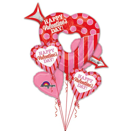 Valentines Day Balloons Bouquet Open Heart With Arrow Balloon Shop Nyc