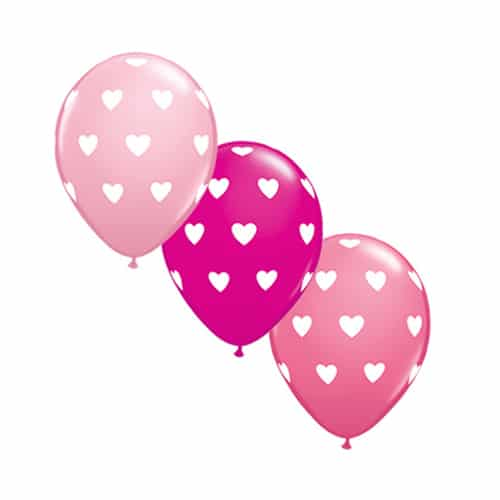 Valentines Day Latex Balloon Pink Fantazy with hearts 17 inch delivery from Balloon Shop NYC
