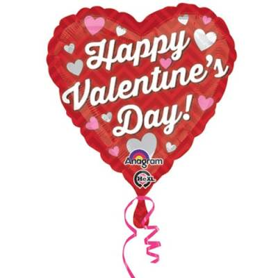 Valentines Day Mylar Balloon Red Chevron 18 Inch delivery from Balloon Shop NYC