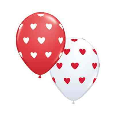 Valentines Day Latex Balloon Red Fantazy with hearts 17 inch delivery from Balloon Shop NYC