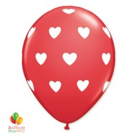 Red White Hearts Latex Balloon 11 inch Inflated delivery Balloon Shop NYC