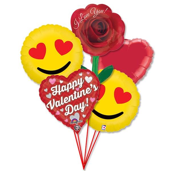 Valentines Day Balloons Bouquet Emoji Hearts Love