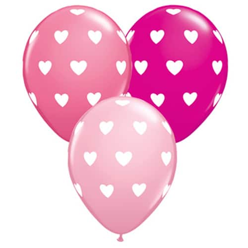 Valentines Day Mylar Balloon White Hearts on Pink 11 Inch delivery from Balloon Shop NYC