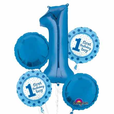 1st Birthday Boy Mylar Balloon Bouquet delivery from Balloons Shop NYC