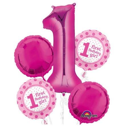 1st Birthday Girl Mylar Balloon Bouquet from Balloon Shop NYC