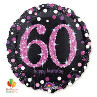 Pink Celebration 60th Holographic 18 Inch Mylar Balloon Inflated high-quality cheap balloons nyc delivery