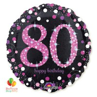 Pink Celebration 80th Holographic 18 Inch Mylar Balloon Inflated high-quality cheap balloons nyc delivery