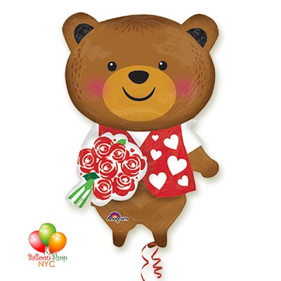 Bear With Roses Large Valentines Day Balloon Delivery from Balloon Shop NYC
