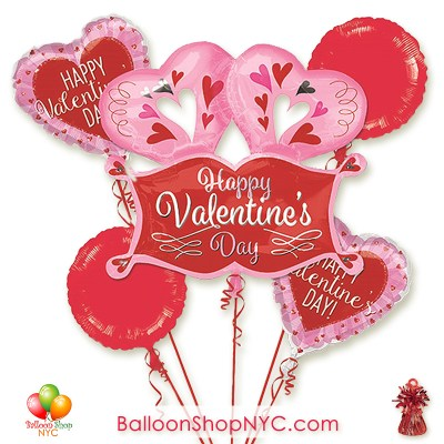 Double Heart Marquee Valentines Balloon Bouquet Inflated Delivery in New York from Balloon Shop NYC