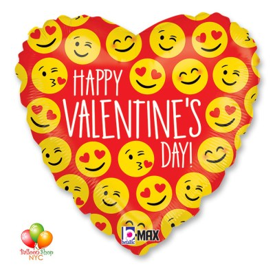 Happy Valentines Day Emoji Heart Balloon Mylar 18 Inch Inflated Delivey in New York from Balloon Shop NYC