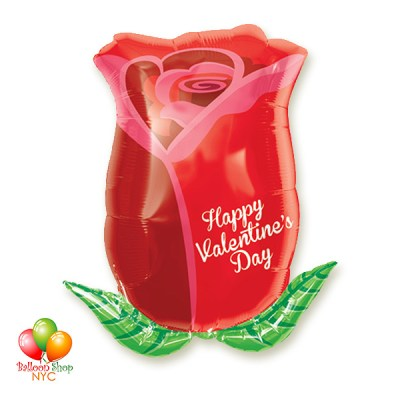 Happy Valentines Day Rose Bud Balloon 18 Inch Inflated Delivery in New York from Balloon Shop NYC