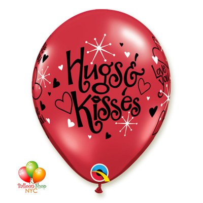 Hugs Kisses Latex Balloon 12 Inch Inflated with Helium Delivery in New York from Balloon Shop NYC