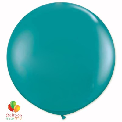 Aqua Latex Party Balloon 24 inch Round Inflated delivery Balloon Shop NYC