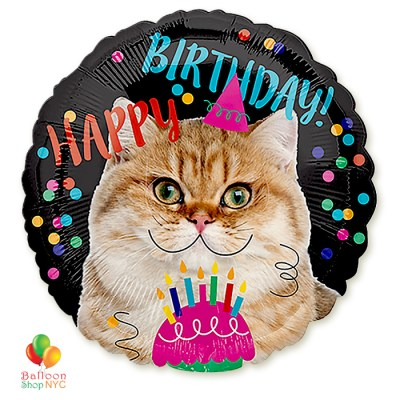 Happy Birthday Cat Helium Inflated Mylar Balloon 18 Inch high-quality cheap balloons nyc delivery