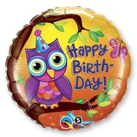 Happy Birthday Owl Foil Balloon 18 in Delivery From Balloon Shop NYC