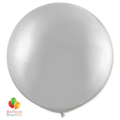 Metallic Silver Latex Party Balloon 17 inch Round Inflated high-quality cheap balloons nyc delivery Balloon Shop