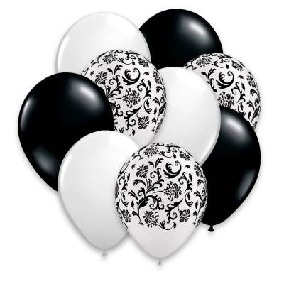 Black White Damask 12 inch Latex Party Balloons Bouquet - Cheap Balloons Delivery NYC