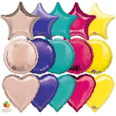 Express Order Solid Colors Mylar Shapes Balloons 18 inch delivery from Balloon Shop NYC