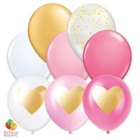Express Order Gold Pink Hearts Collection Latex Party Balloons 11 Inch Inflated