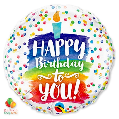 Happy Birthday Rainbow Cake Mylar Balloon 18 In Inflated