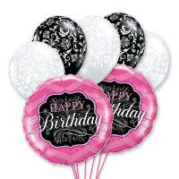 Happy Birthday Pink & Black Mylar Balloon Bouquet Delivery from Balloon Shop NYC
