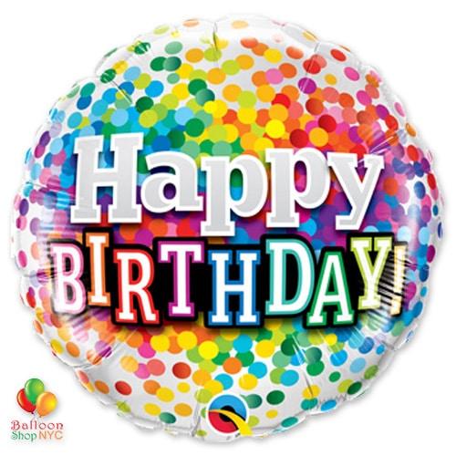 Happy Birthday Rainbow Confetti Mylar Balloon From Balloon Shop Nyc