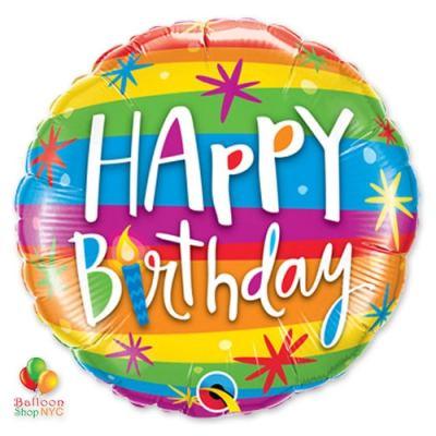 Happy Birthday Rainbow Stripes Mylar Balloon 49043 delivery from Balloon Shop NYC
