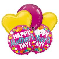 Happy Mothers Day Hearts Round Magenta Balloon Bouquet delivery from Balloon Shop NYC