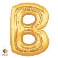 Jumbo Letter B Foil Balloon Gold 40 inch Inflated delivery from Balloon Shop NYC