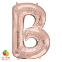 Jumbo Letter B Foil Balloon Rose Gold 35 inch Inflated delivery from Balloon Shop NYC