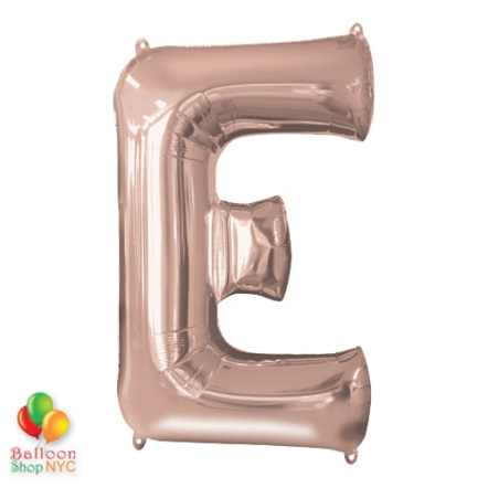 Jumbo Letter E Foil Balloon Rose Gold 35 inch Inflated delivery from Balloon Shop NYC