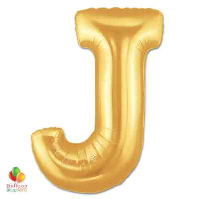 Jumbo Letter J Foil Balloon Gold 40 inch Inflated delivery from Balloon Shop NYC