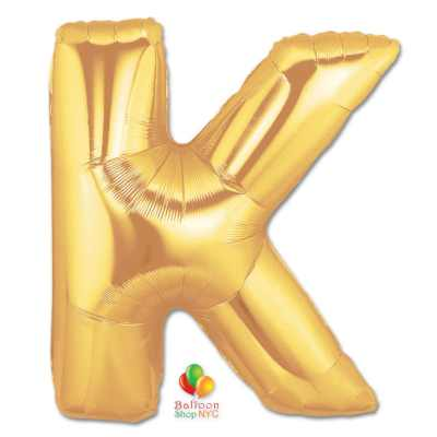 Jumbo Letter K Foil Balloon Gold 40 inch Inflated delivery from Balloon Shop NYC